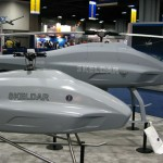 Saab displayed two of its Skeldar VTUAVs at the AUVSI 2011 exhibition The Skeldar 200 is on the right, the smaller 100 model is on the left. Photo: Tamir Eshel, Defense Update