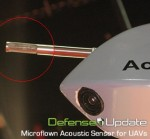 Microflown Avisa displayed here an acoustic sensor for UAVS, enabling micro drones to detect gunshots from seven kilometers. Photo: Tamir Eshel, Defense Update.