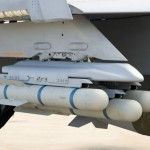 JAGM missiles loaded on a triple ejector rack carried by an F/A-18 Hornet for a captive test flight. Photo: Lockheed martin.