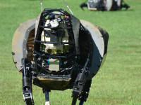 Two of these robotic mules (LS3) are being tested by the Marine Corps as support platforms for dismounted squads. Photo: DARPA