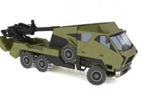 The New ATMOS from Elbit Systems (Soltam). The recessed gun positioned for travel contributes to the vehicle&#039;s lower silhouette. The vehicle also has a wide blade, for faster deployment and entry into firing position. Image: Elbit Systems