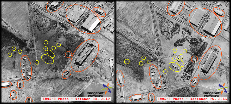 Two images of the Yarmouk ammunition plant in Khartum, Sudan, taken by the Israeli EROS-B spy satellite, before and after the attack.