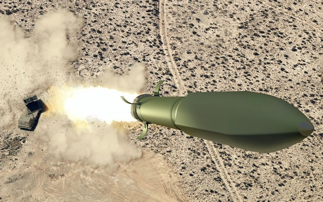 A proposed Ground Launched Small Diameter Bomb (GL-SDB) will utilize the MLRS rocket to boost the SDB to a trajectory from where it will be able to continue gliding to its target like it was dropped from a manned aircraft.