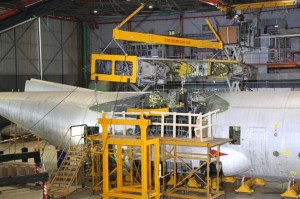 The first IAF C-130H undergoing wing replacement work at IAI Bedek facility in Israel. Photo: IAI