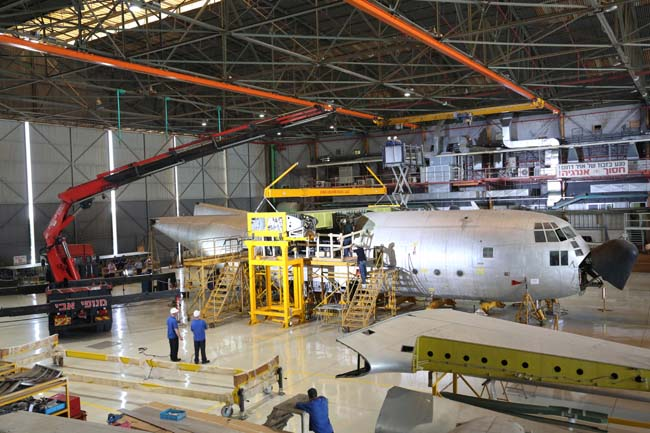 The first IAF C-130H undergoing wing replacement work at IAI Bedek facility in Israel.