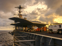 In December 2012 Northrop Grumman and the U.S. Navy conducted deck handling trials of the X-47B Unmanned Combat Air System aboard the USS Harry S. Truman (CVN-75). Trials were designed to demonstrate the aircraft&#039;s ability to integrate smoothly with carrier operations. Photo: Northrop Grumman